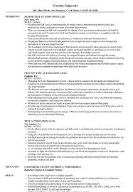 Test Automation Lead Resume Samples | Velvet Jobs