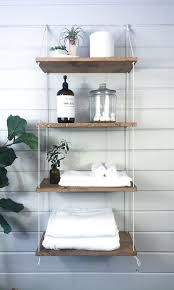 badezimmer regal bad dekor schwimmende regal hängende regale seil regal holz wohnkultur