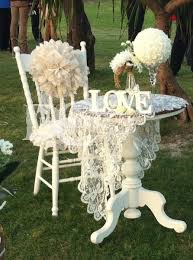 Rustic Wedding Decor Hire Vintage Ceremony Signing Table Lace Cloth Chair Pom Sash Pillow 77
