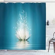 ambesonne lotus duschvorhang magic lotus mit bright reflexe zen spirituelle meditation print stoff badezimmer decor set mit haken petrol