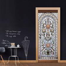 großhandel großhandel diy tür aufkleber klassische blume patten glastür aufkleber für schlafzimmer wohnzimmer tapeten aufkleber wohnaccessoires