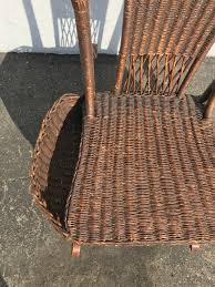 Rocking Chair Antique Woven Wicker Rocker Rustic Primitive Armchair ...