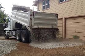 Gravel Truck Drops Load PERFECTLY On New Driveway - YouTube