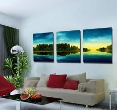 Green Tree Forest Lake Scenery 3 Piece Canvas Art Wall Hanging Picture Decoration Home Modern