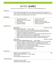 Resumes Of Teachers