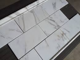 6 X 12 Glass Subway Tile by Calacatta Borghini Italian Marble 6x12