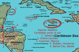 Map Of Western Caribbean With Popular Cruise Ship Ports Call