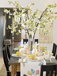 Easter Home Decorating With Flowering Branches Spring In Glass Vase