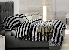 Minimalist Black and White Stripe Soft Cotton Bedding Sets