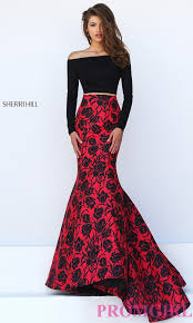 off the shoulder two piece floral dress promgirl