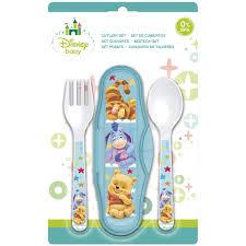 Disney Set De Couverts Bleus Winnie LOurson En Plastique 2 Pièces