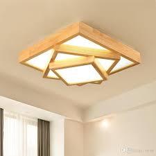 großhandel nordic massivholz wohnzimmer deckenleuchte kreative geometrische platz holz kunst japanischen stil led schlafzimmer le einfaches licht