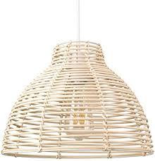 rattan pendelleuchte deckenleuchte modern holz korbweide korb käfig lenschirm e27 rund hängele für flur schlafzimmer wohnzimmer esszimmer