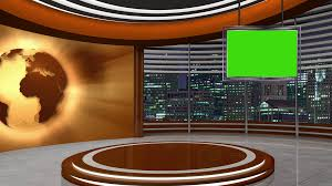 News Tv Studio Set 253 Virtual Green Screen Background Loop Mov Stock Video Footage