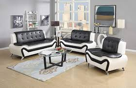 100 Sofa Modern Furniture US Pride 3 Piece Bonded Leather Set With Loveseat And Chair WhiteBlack