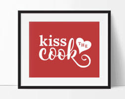 Kiss The Cook Red Kitchen Print Art