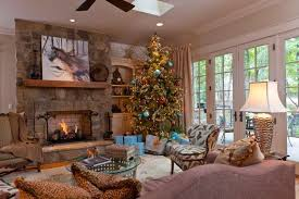 victorian style homes interior flocked christmas tree decorating