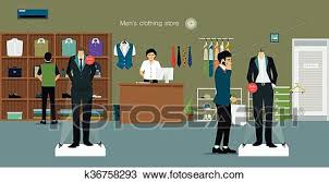 Clipart Of Clothing Store Man K36758293