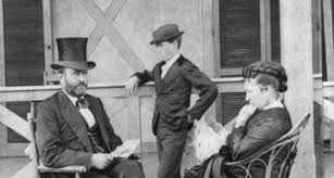 President Ulysses S Grant With First Lady Julia Dent And Son Jesse In 1872