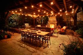 Decorations Elegant Patio String Lights In Wooden Ceiling Patio