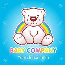 Goods For Kids Top Store Vector Logo Toy Animated Baby Bear Sitting Under Rainbow