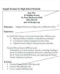 Sample High School Education Resume Listing On Examples
