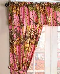 Camouflage Window Curtains Country Cabin Lodge Green Pink Orange