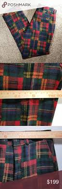 Ralph Lauren Rugby Plaid Holiday Wool Dress Pants Excellent