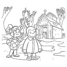 Curious George With Little Girg Coloring Pages