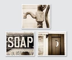 Vintage Sepia Bathroom Wall Decor Prints Or