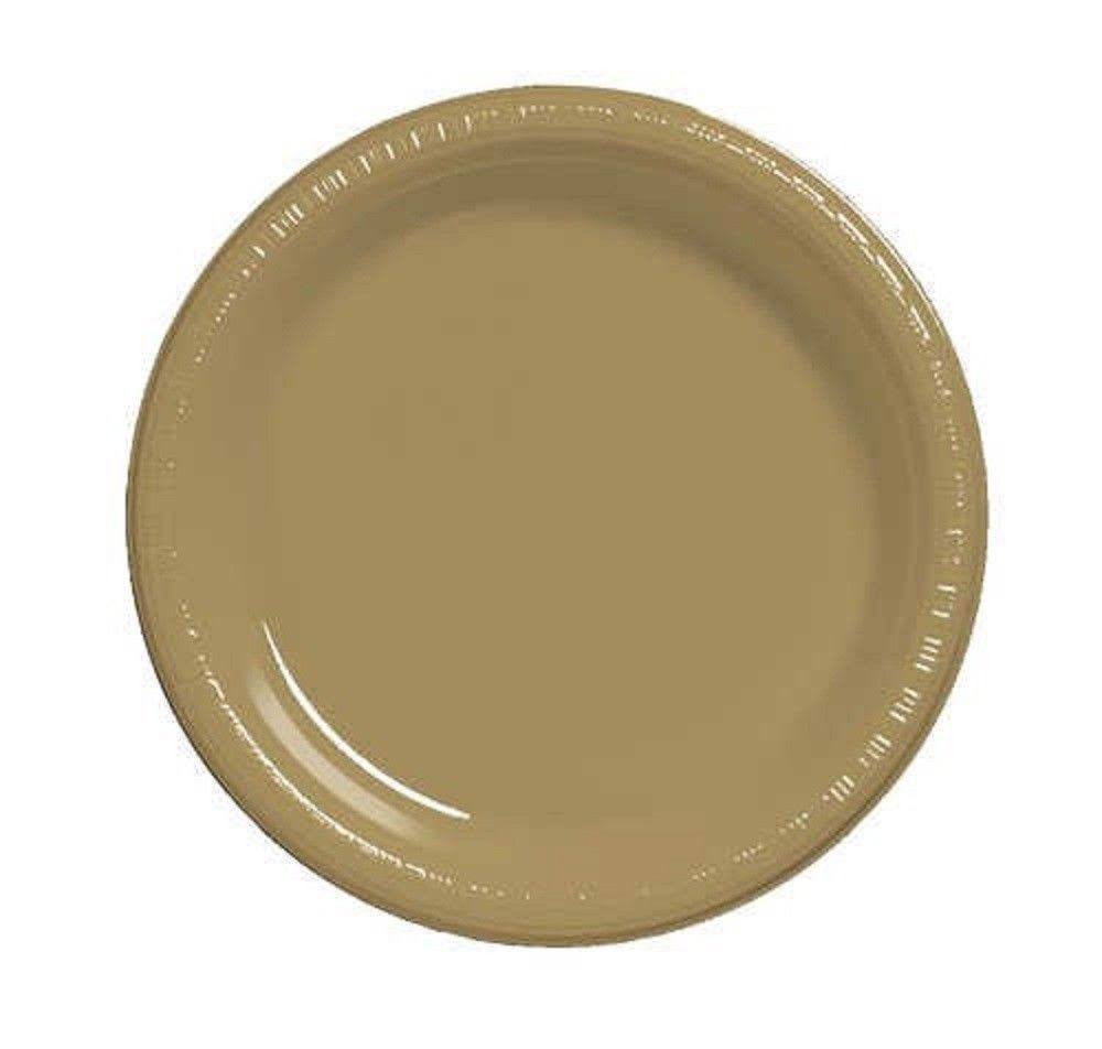 Creative Converting Touch of Color Plastic Lunch Plate - Glittering Gold, 20ct