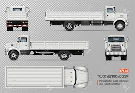 100 Truck Flatbed Truck Vector Mockup Isolated Template Of The White Lorry