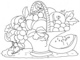 Awesome Collection Of Printable Coloring Pages Fruit Basket With Service
