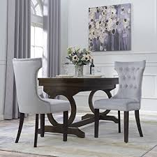 Belleze Premium Dining Chair Accent Living Room Nailhead Side Chairs Set Of 2 Gray