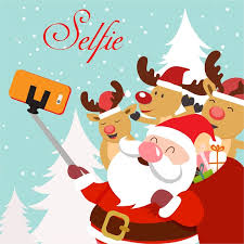 christmas template illustration with selfie santa and reindeers