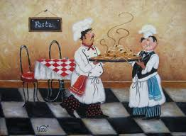 Fat Chef Bistro Kitchen Curtains by Pasta Chefs Print Vickie Wade Art Fat Chefs Paintings Prints