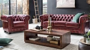 chesterfield garnitur 3 2 1 leder antik rot luxus hochwertig