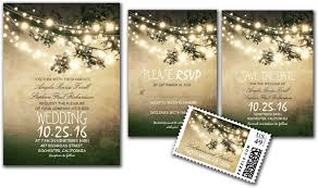 Rustic Tree Branches String Lights Wedding Invites