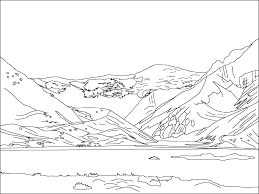 Mountain Scene Colouring Pages Coloring Inside