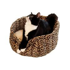Kh Thermo Kitty Heated Cat Bed by K U0026h Pet Products Thermo Kitty Deluxe Large Mocha Leopard Hooded
