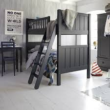 classic black wooden aspace bunk bed with tilt style wooden stairs