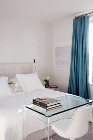 White Bedroom With Blue Curtains In Design Ideas On HOUSE Designer Sarah Stewart