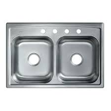 Overmount Kitchen Sinks Stainless Steel by Kohler Toccata Drop In Stainless Steel 33 In 4 Hole Double Bowl