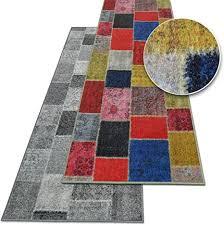 teppichläufer monsano patchwork muster im vintage look viele größen rutschfester teppich läufer für flur küche schlafzimmer niederflor