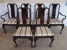 KINDEL MAHOGANY QUEEN ANNE DINING CHAIRS SET OF 6
