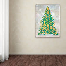 100 Decorated Wall Trademark Fine Art 32 In X 24 In Green And Gold Xmas