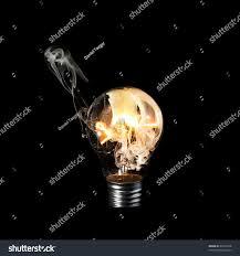 Burning Light Bulb White Smoke Inside Stock