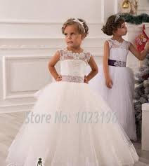 real image ivory white lace flower girls dresses 2015 ball gown