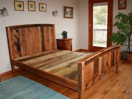 Country Style Panel Bed Frame Made Of Solid Wood Rustic Unique Designs Double
