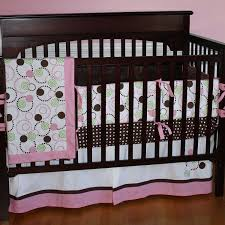 Bacati Crib Bedding by Brown And Pink Crib Set Time Pink Brown And Green Modern
